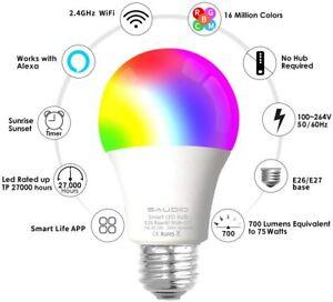 SAUDIO Smart Alexa Compatible Color Changing Light Bulbs Pack of 4 WIFI LED RGB