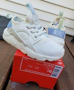 NEW Nike Huarache Run Ultra Blue/Off White SIZE 9c Toddler Girls 8 9 Kids max 90