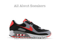 """Nike Air Max 90 """"Black-Radiant Red-White"""" Men's Trainers Limited Stock All Sizes"""