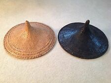 VINTAGE SET OF TWO ORIENTAL BAMBOO CONE HATS!!