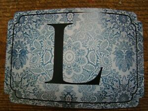 Lone Elm Studios Initial Rectangle Damask Vintage Blue White Sticker L