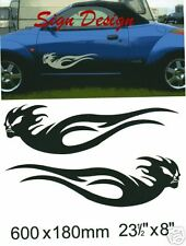 SKULL CAR SIDE FLAME  DECALS GRAPHICS STICKER 320