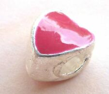 European Bead HERZ Spacer Perle rot silber Metall Emaille 1221