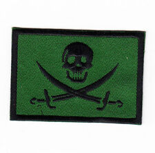 JOLLY ROGER PIRATE SKULL & CROSSED SWORDS FLAG SUBDUED IRON ON PATCH biker