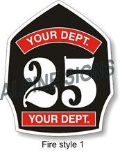 "Fire Firefighter Helmet Shield sticker - Custom just for You!  3.7""x4.5"""