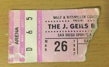 1982 U2 The J. Geils Band San Diego Concert Ticket Stub October Tour Boy War