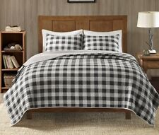 Cabin Gray Black Buffalo Check Full Queen Quilt Set : Country Lodge Grey Plaid