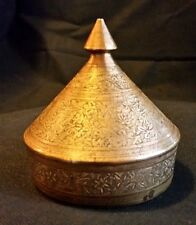Brass Etched Floral Dish Vintage Lidded Cone Dome Shape Vanity Boudoir India Art