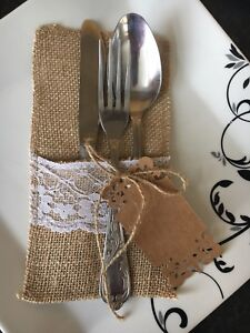 10 Rustic Natural Burlap Cutlery Knife Fork Holder Pouch Bag Wedding With Tags