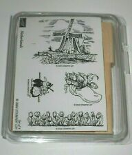 NEW Stampin' Up NETHERLANDS Rubber STAMP SET Holland Windmill Tulips Wooden Shoe