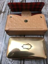 Vintage Art Deco Men's Vinyl Plaid Vanity Set, Gold Brush And Comb, Carry Case