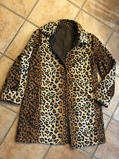 DENNIS BASSO XS 4 Water Resistant Brown Leopard Fur Reversible Coat  NEW