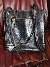 Liz Claiborne Handbag Blk Faux Crocodile Alligator CLEAN - ORGANIZER HANDBAG LGE