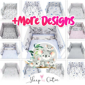 3or5 PIECES NURSERY- BABY BEDDING SET-BUMPER-PILLOW-QUILT COVERS fit Cot/COT Bed
