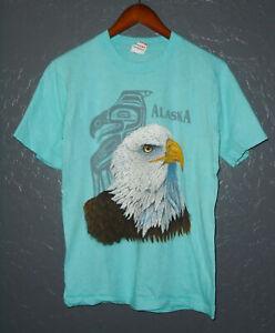 Vtg 80s ALASKA Souvenir T-Shirt TRIBAL American Bald Eagle Single Stitch USA Sm