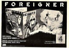10/10/1981Pg15 Single Advert 7x10 Foreigner, Junk Box Hero