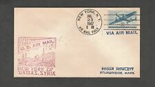 Kappysstamp Ks1101 C30 1St Flight New York To Damascus Syria With Syrian Cancel