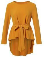 Romwe Women's Raw Hem Long Sleeve Belted Flare Peplum Blouse, Yellow, Size Large