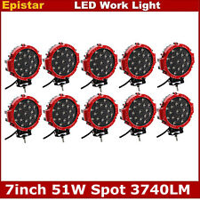 7inch 51W Red Spot LED Work Light Round SUV ATV 4WD Off-Road Truck Lamp 5 Pairs