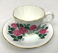 Vintage Victoria Tea Cup & Saucer Scallopped Shape Pink Roses England
