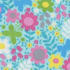 Fabric Butterflies Flower Shapes Toss on Aqua Blue Cotton 1/4 Yard