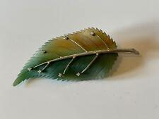 Antique 18ct White Gold Diamond Pate De Verre Daum ? Leaf Pin Brooch 750 Nouveau
