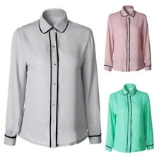 Women's Chiffon Long Sleeve Career Shirt Fitted Button Up Blouse Tops Outwear