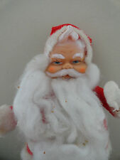 Vintage Rubber Face Santa Claus with White Boots and Faux Fur Trim
