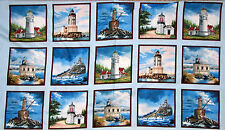 "Lighthouse Ocean Blocks Scenic Cotton Fabric 24""X44"" Elizabeths Studio PANEL"
