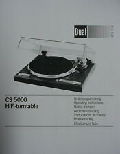 DUAL CS 5000 TURNTABLE OPERATING INSTRUCTIONS MANUAL 25 Pages