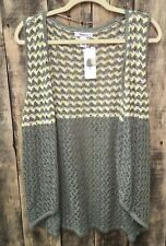 NEW Style & Co Knit Vest Topper NWT Large L  Cotton Linen Soft Sage Style&Co
