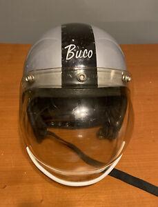 1960s Vtg 1970s Buco GT Motorcycle Helmet Gray W/ Black Stripe + Bubble Shield