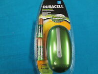 New Duracell Green Color Mini Charger with 2 AA Staycharged Batteries