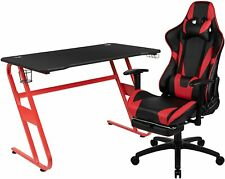 Red Gaming Desk and Footrest Reclining Gaming Chair Set & Headphone Hook New