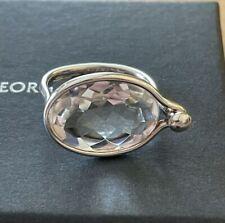 Georg Jensen Savannah Large Rock Crystal Silver Ring Size 54 BNIB