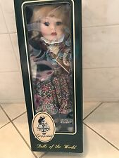"""Geppeddo Porcelain Doll 17"""" Dolls Of The World Swiss Miss New In Box"""