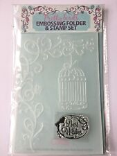 Card Making Embossing Folder & Stamp set Pretty Birds - Quick Cards Best Wishes