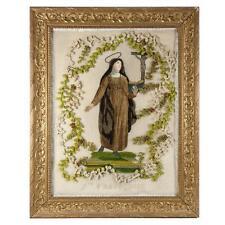 Antique French Silk Embroidery, Chenille Work, a NUN, Sainte-Francoise, Crucifix