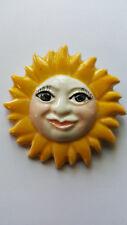 Face Brooch 1980's Vintage Nwt Fabulous Enamel Ceramic Crescent Sun