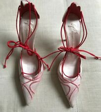 5138ef19ca Guiseppe Zanotti Pink Red Satin Ankle Tie Pumps Sz 6.5