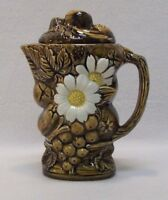 VTG Brown White Daisy Embossed Ceramic Tea Pot Coffee Pot JAPAN