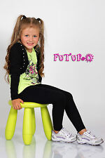 Plain Children Age 2-13 Cotton Full Length Leggings Girls Kids Black +20 Colours