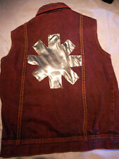 Plum dyed denim waistcoat 8 gilet Red Hot Chili Peppers vintage Rolling Stones