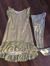 Joyfolie Gold Hi-Low Beatrix Dress & Gold Foil Floral Leggings Set Size 7 EUC