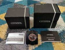 CITIZEN Eco-Drive Orange Black Leather Strap Watch