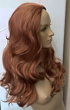 copper red ginger wavy curly 3/4 half head long hair wig on half cap new