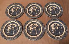 "Lot of 6 Salad Dessert Plates English Ironstone Blue Willow China 7"""