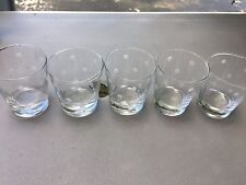 Vintage set of 5 Anchor Hocking Glasses with White Polka Dots