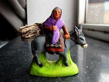 Santon en terre cuite peint Fouque -Femme sur âne avec fagot 6 cm