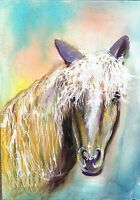 Horse Head White mane Loose Watercolor Art 10x14 painting by Penny Lee StewArt